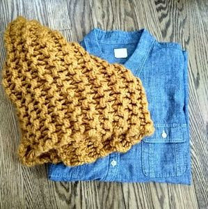 Gold chunky handmade cowl scarf